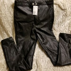 H&M high waisted faux leather leggings
